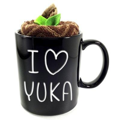 画像2: 名入れ マグカップ カフェマグ 彫刻無料 タオル付き ブラック・クリーム