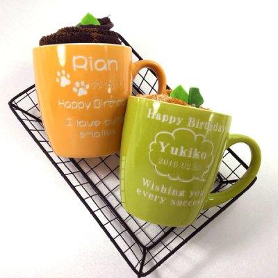 画像2: 名入れ マグカップ カフェマグ 彫刻無料 タオル付き ピンク・ブルー・グリーン・オレンジ
