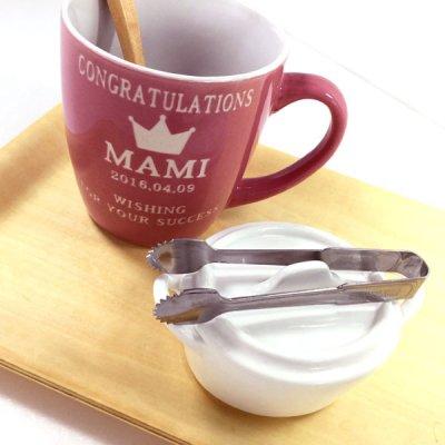 画像1: 名入れ マグカップ カフェマグ 彫刻無料 タオル付き ピンク・ブルー・グリーン・オレンジ