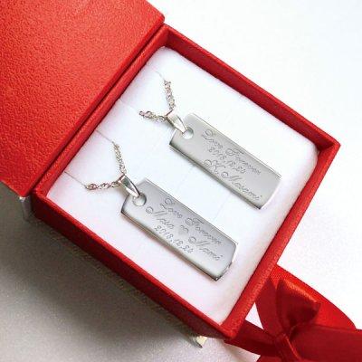画像2: ペアネックレス 名入れ ペア カップル 2個セット ネックレス 刻印無料 記念日 メッセージ シンプル フレンチロープチェーン