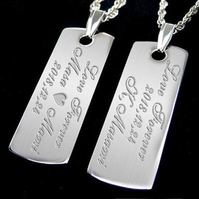 画像1: ペアネックレス 名入れ ペア カップル 2個セット ネックレス 刻印無料 記念日 メッセージ シンプル フレンチロープチェーン